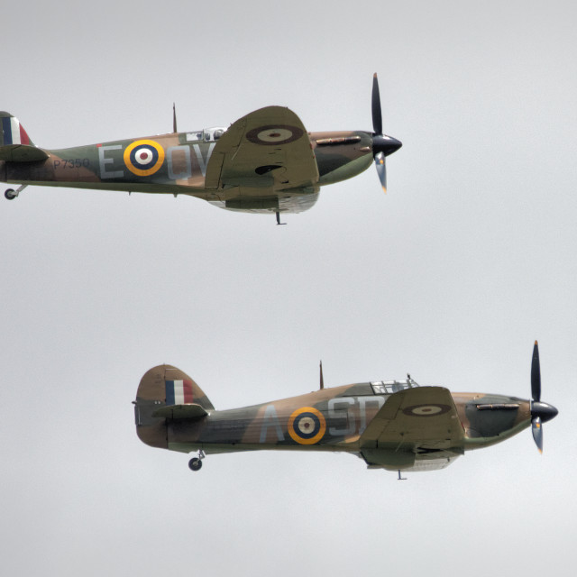"""Spitfire and Hurricane Pair"" stock image"