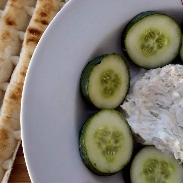 """Fresh Homemade Greek Tzatziki with Pita Bread"" stock image"