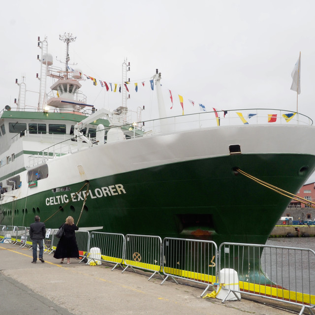 """""""RV Celtic Explorer in Galway Harbour"""" stock image"""