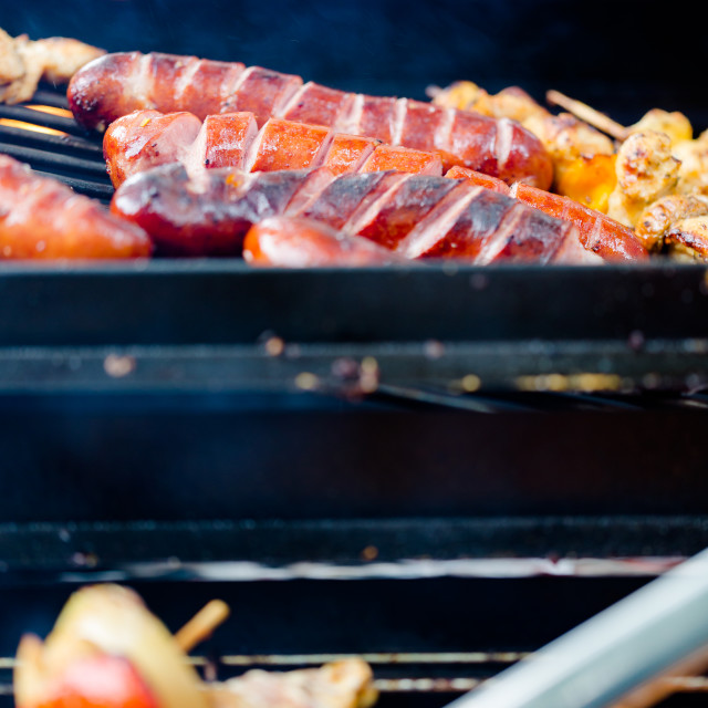 """""""BBQ large grill with roasted meat, stew, sousages, chicken breas"""" stock image"""