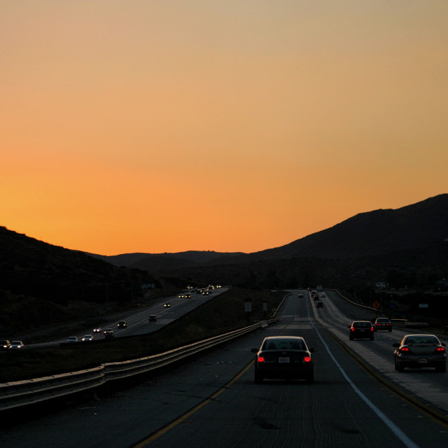 """Los Angeles freeway at sunset"" stock image"