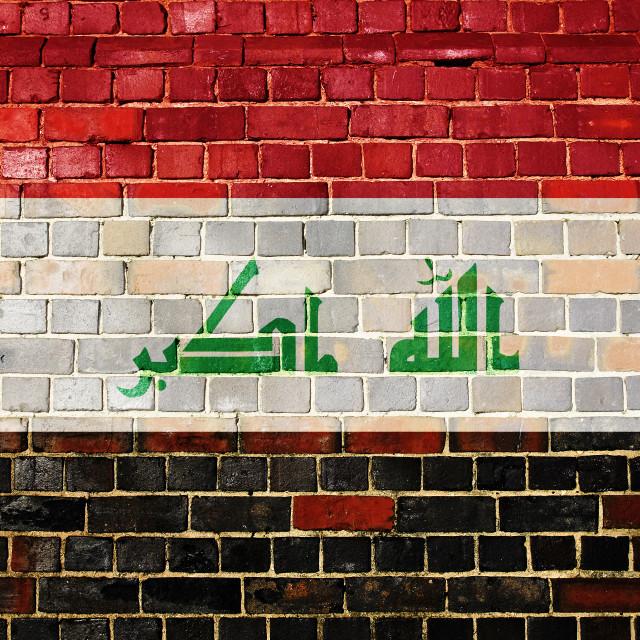 """Iraq flag on a brick wall"" stock image"