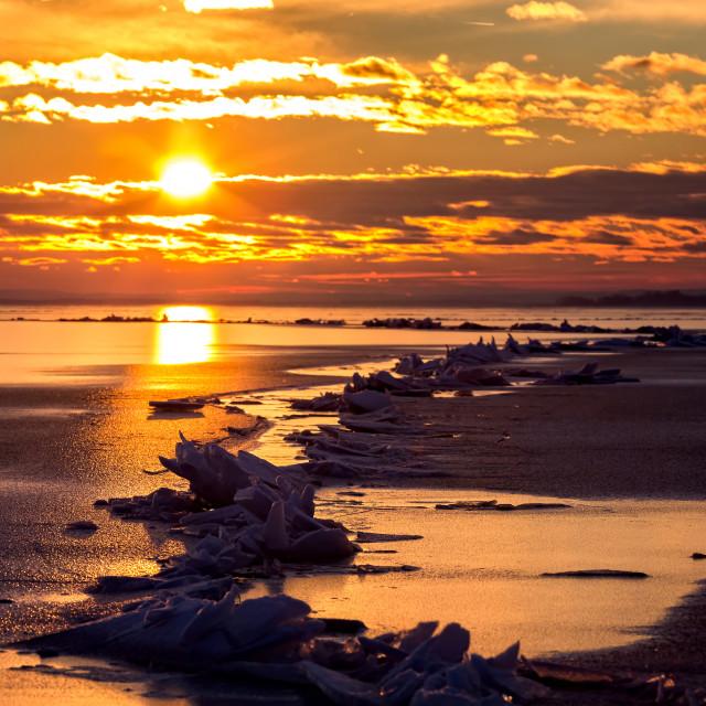 """Winter sunset over the lake Balaton of Hungary"" stock image"