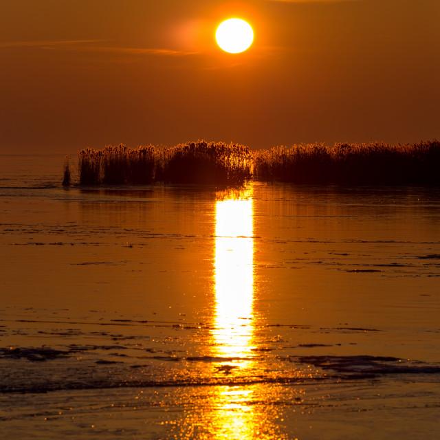 """""""Beautiful sunset on a frozen lake"""" stock image"""
