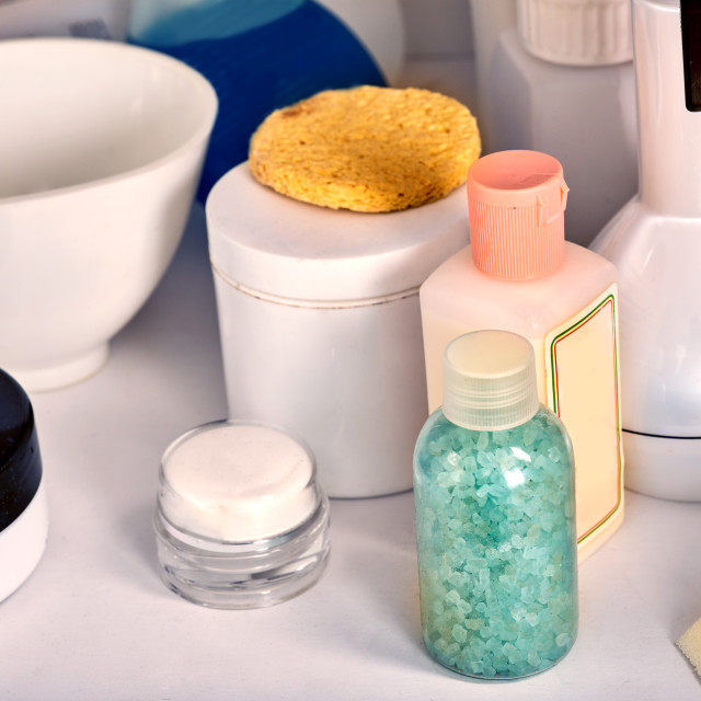 """Cosmetics packaging for face and body care containers."" stock image"