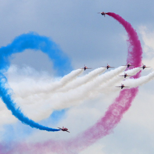 """RAF Red Arrows 'Tornado'"" stock image"