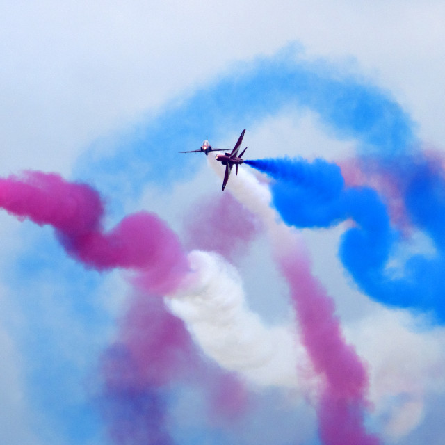 """RAF Red Arrows crossover"" stock image"