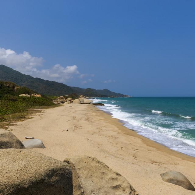 """Beautiful beach in the Tayrona National Park (Parque Nacional Tayrona) in the Caribbean Coast of Colombia, South America"" stock image"