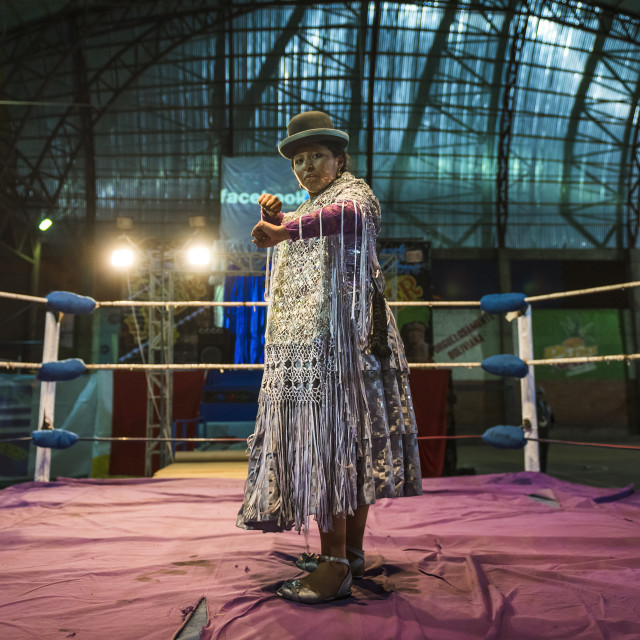 """El Alto, Bolivia - December 8, 2013: Cholita wrestler posing in the ring before a wrestling fight in the city of El Alto, Bolivia. The Fighting Cholitas are a group of female wrestlers."" stock image"