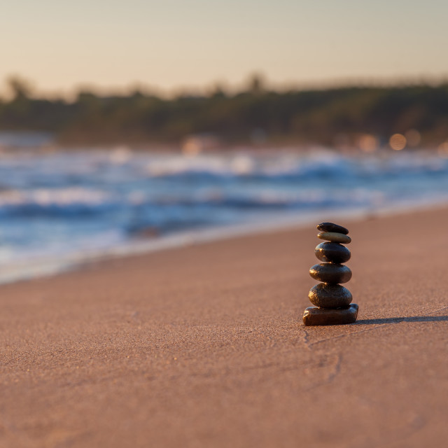 """Zen stones on beach"" stock image"