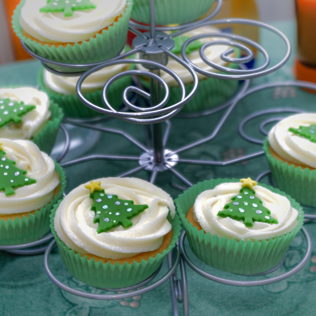"""Christmas cup cakes on stand"" stock image"