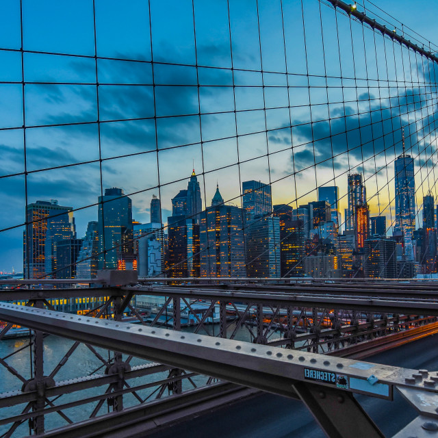 """Sunset on the Brooklyn Bridge"" stock image"