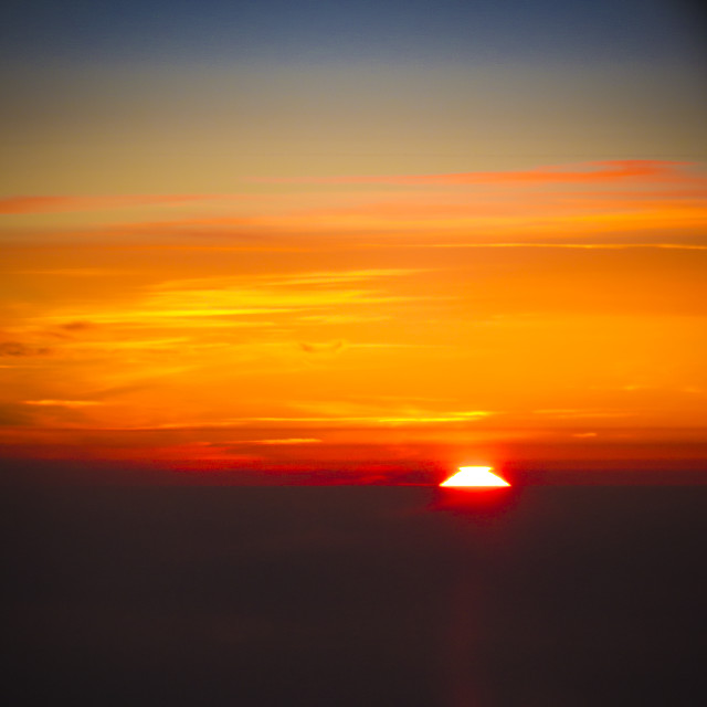 """Sunset from aircraft"" stock image"