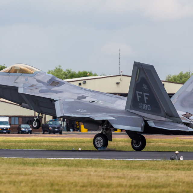 """F-22 Raptor touches down"" stock image"