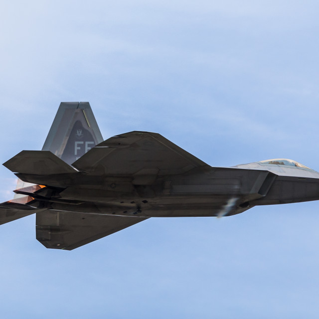 """Fast pass by the USAF F-22 Raptor"" stock image"
