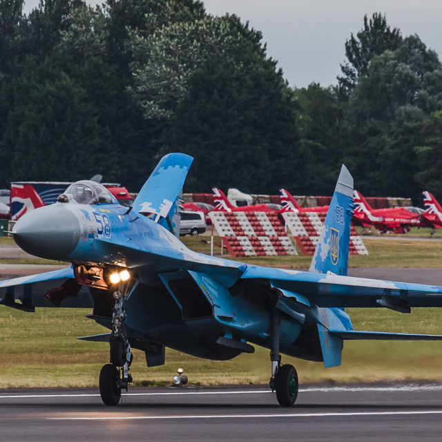 """""""Ukrainian Air Force Su-27 Flanker slows on the runway"""" stock image"""