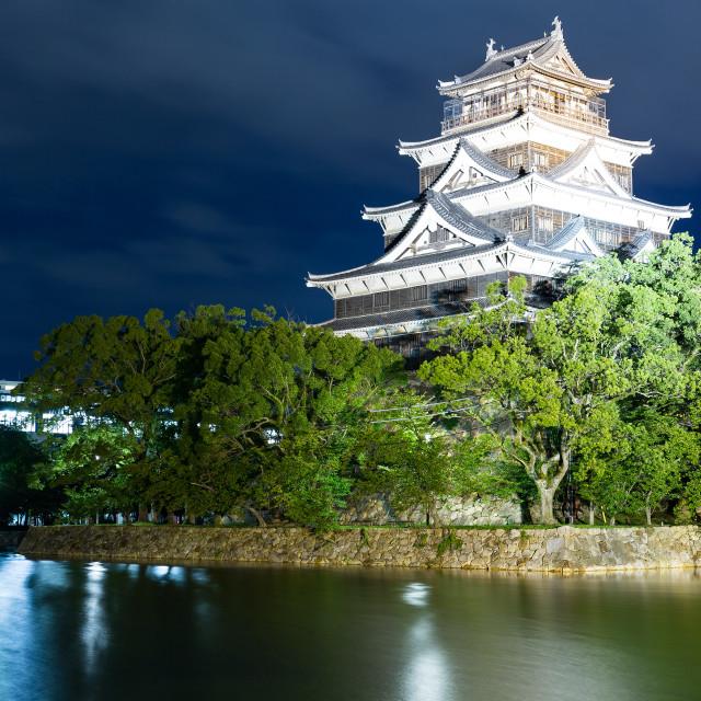 """Hiroshima Castle in Hiroshima at night"" stock image"