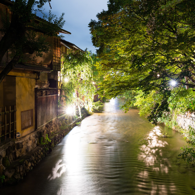 """""""Gion in Kyoto at night"""" stock image"""