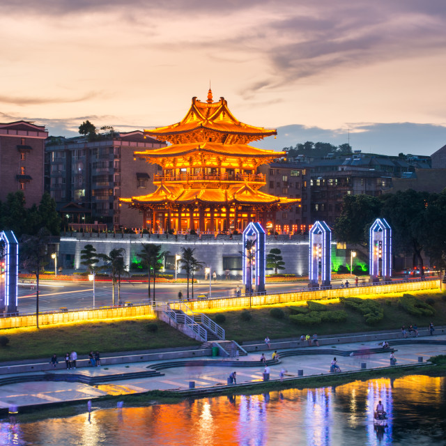 """""""Xiaoyao Tower in Guilin, China, located on West and East Alley"""" stock image"""