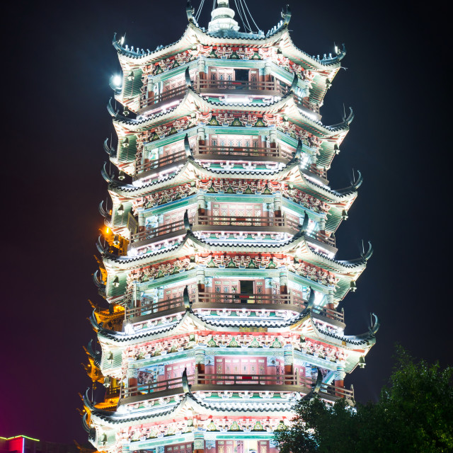 """Silver towers pagoda in Guilin, China, close up"" stock image"
