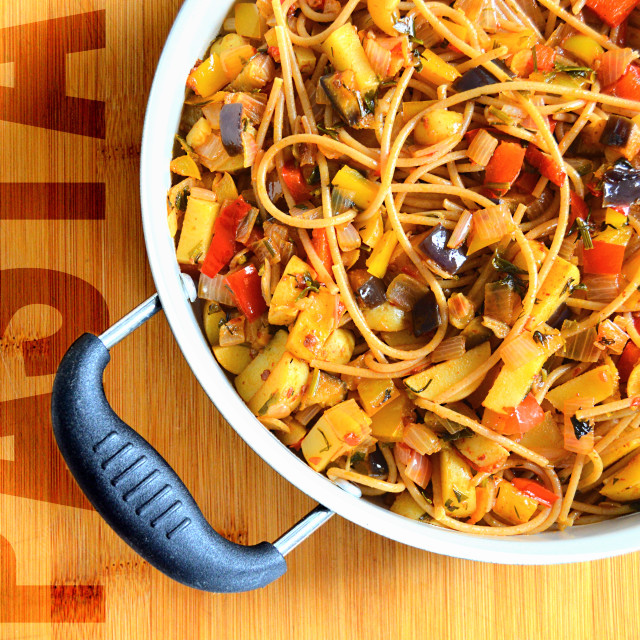 """Wholegrain pasta with vegetables"" stock image"