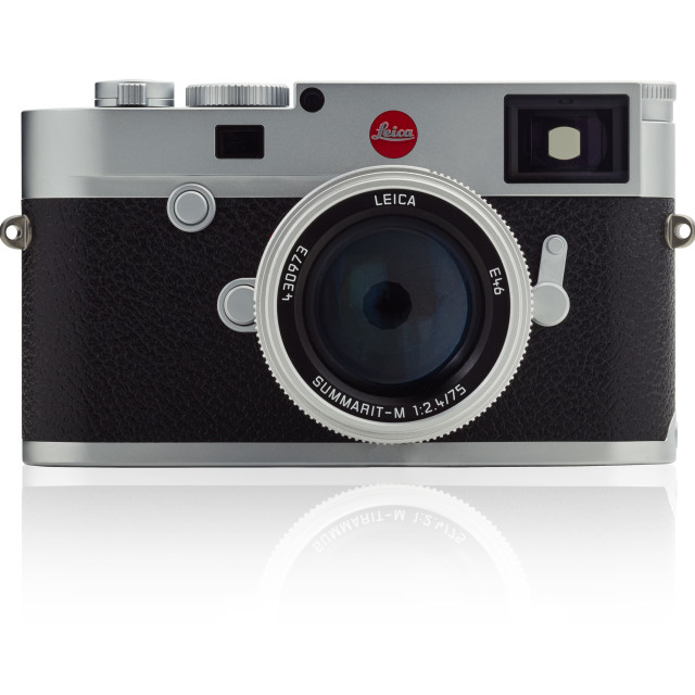 """Leica M10 camera with 75mm Summarit f2.4 lens on a white background"" stock image"