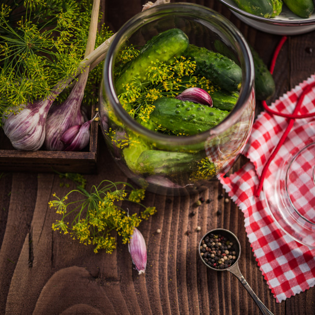 """""""Ingredients for pickled cucumbers on wooden table"""" stock image"""