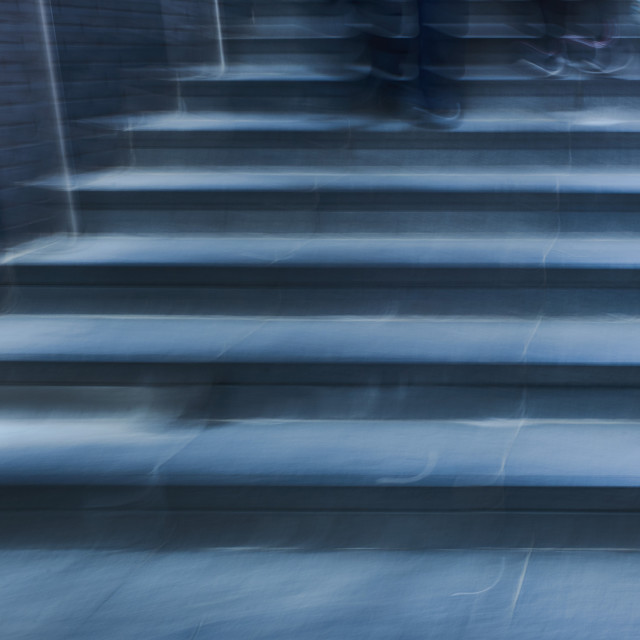 """""""Ghostly blue steps with feet"""" stock image"""