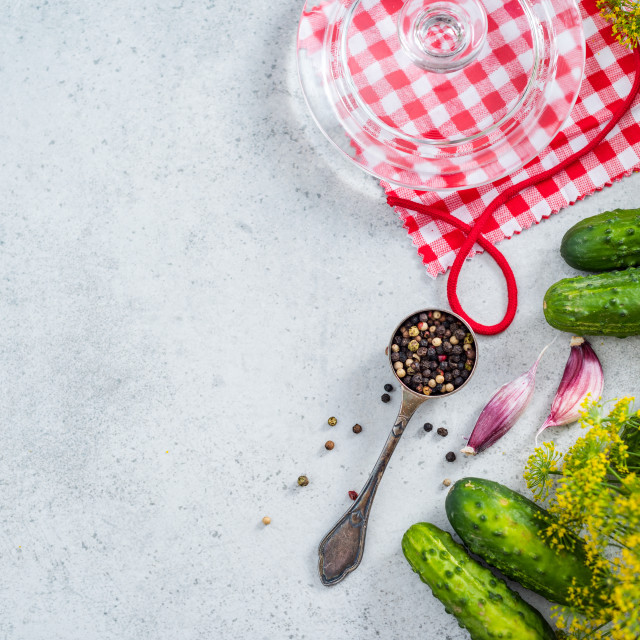"""Pickled gherkins cucumber flat lay recipe background"" stock image"