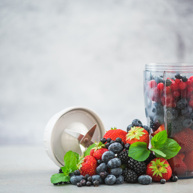 """Blender full of berry fruits"" stock image"
