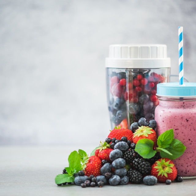 """Blender ready for making berry smoothie"" stock image"