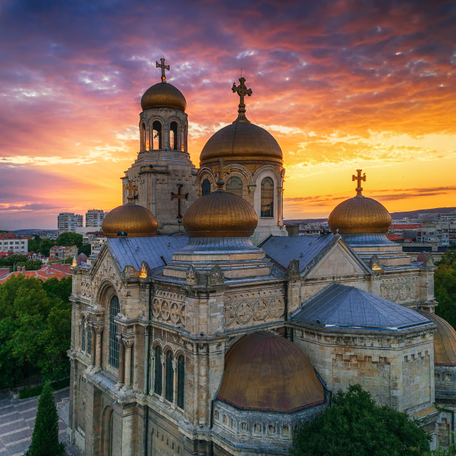 """Aerial view of The Cathedral of the Assumption in Varna, Bulgari"" stock image"