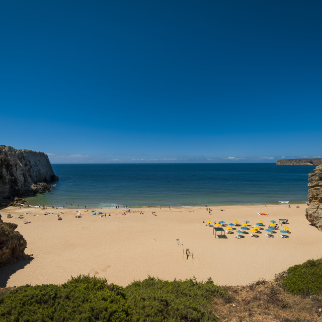 """""""Sagres, Portugal - July 6, 2017: View of the bay and the Beliche Beach (Praia do Beliche) in Sagres, Portugal"""" stock image"""