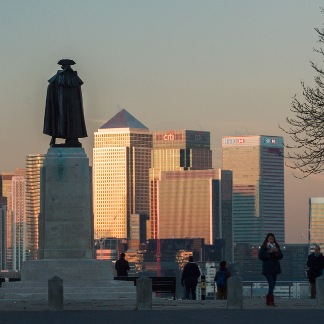 """""""Greenwich and Canary Wharf at sunset #3"""" stock image"""