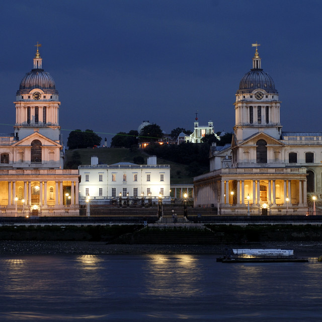 """""""The Old Royal Naval College at dusk. Greenwich, London, Great Britain"""" stock image"""