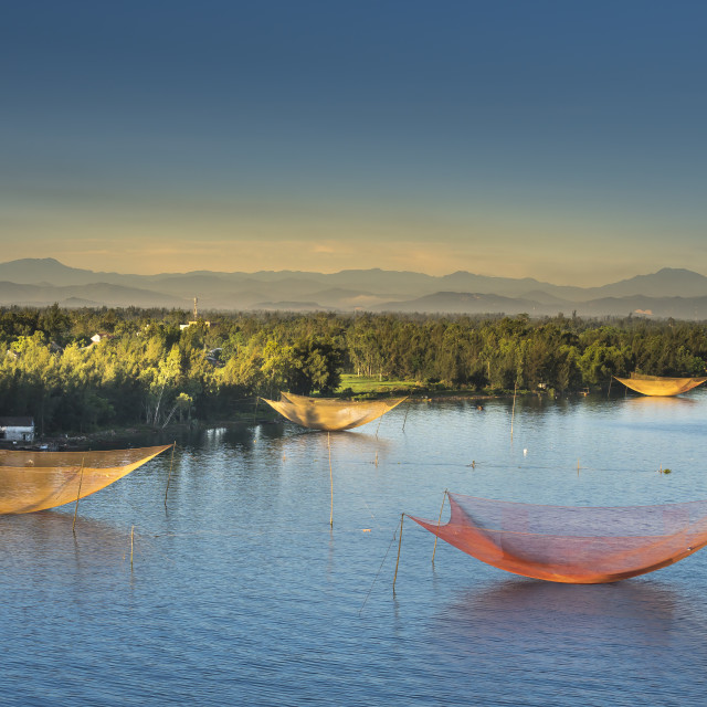 """Stationary Lift Net Fishing Trap at Cua Dai Beach, Hoi An, Vietnam"" stock image"