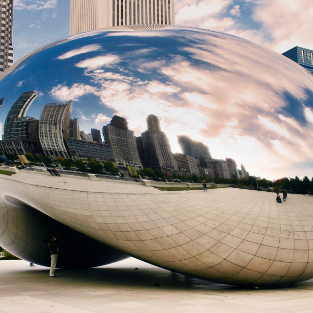 """Skyscraper reflections on The Bean"" stock image"