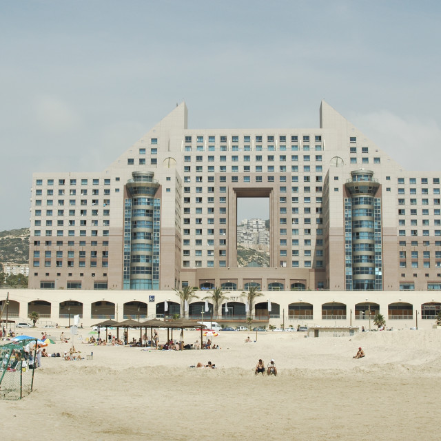 """Israel, Haifa, People at the beach"" stock image"