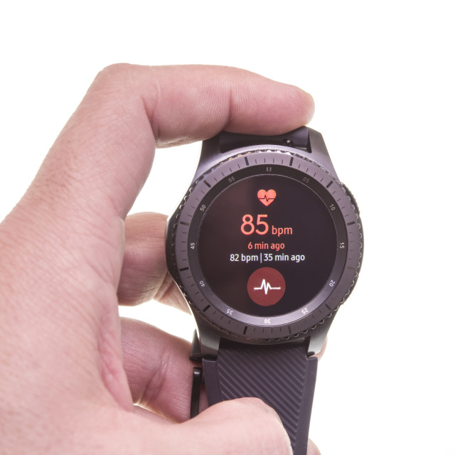 """""""Smart watch measuring heart rate"""" stock image"""