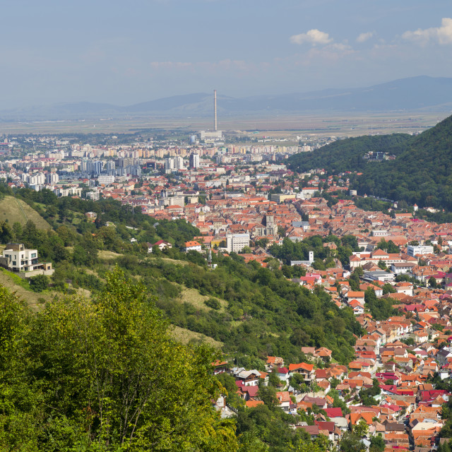 """""""Aerial view of old part of Brasov, Romania"""" stock image"""