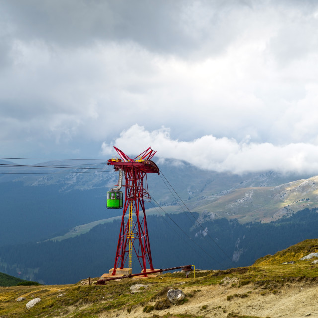 """Mountain Cable car in Bucegi mountains"" stock image"