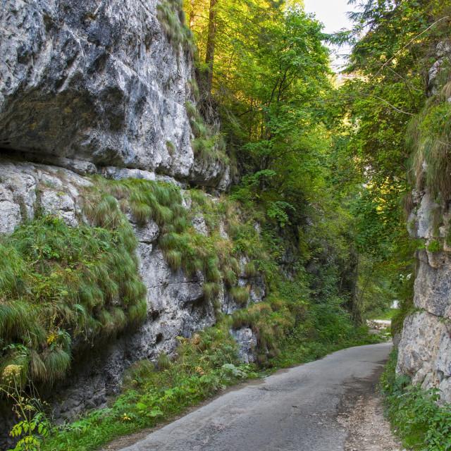 """Mountain road between two rocks"" stock image"