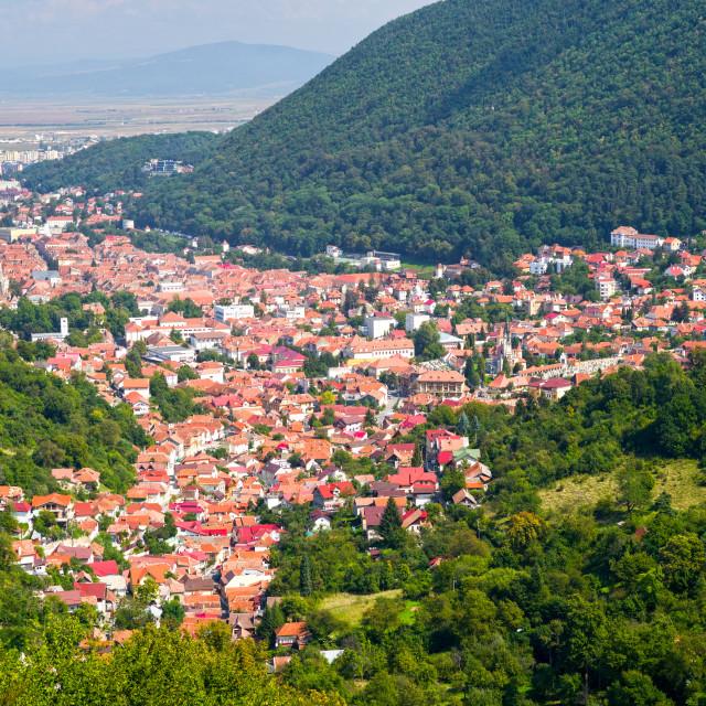 """Mountain cityscape"" stock image"