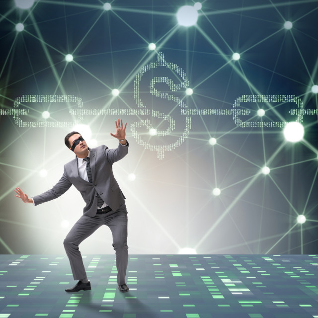 """""""Businessman in blockchain cryptocurrency concept"""" stock image"""