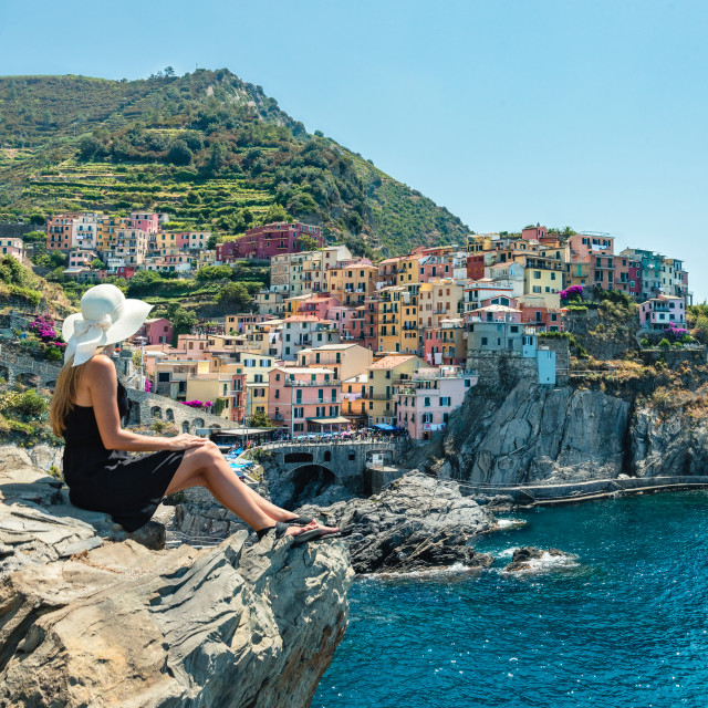 """""""Manarola in Cinque Terre, Italy."""" stock image"""