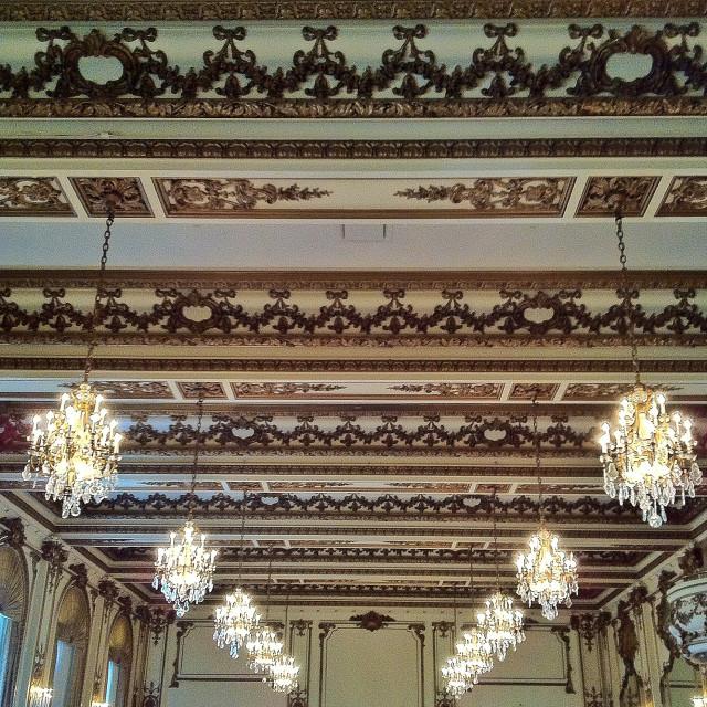 """Luxury hotel ballroom ceiling"" stock image"