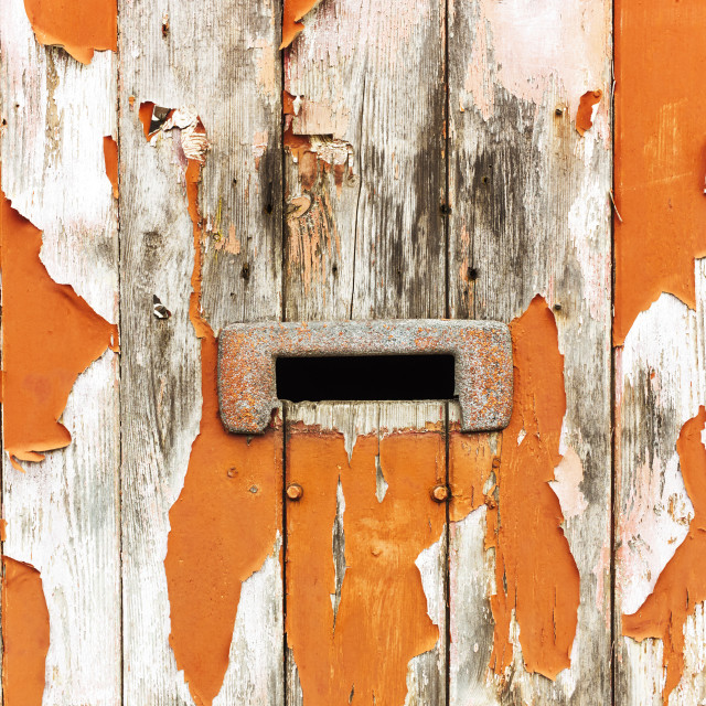 """Letterbox in old door in centre of Hull"" stock image"