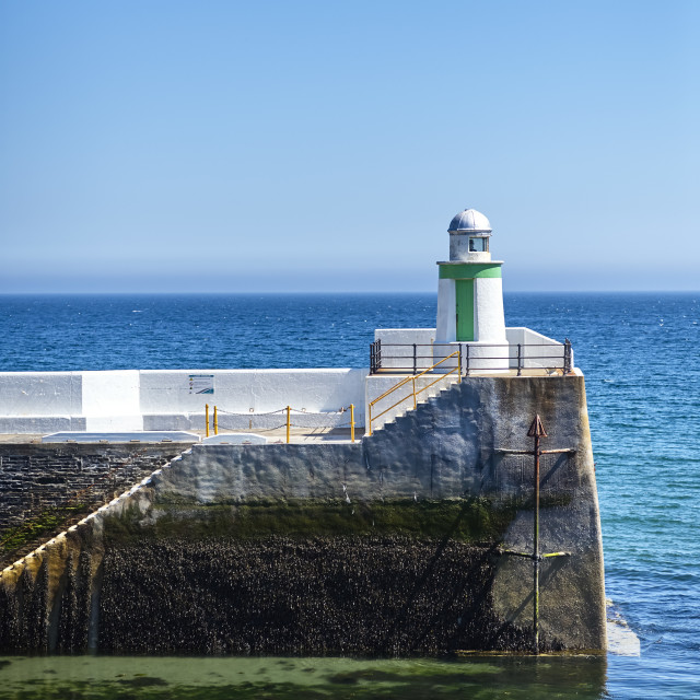 """""""Pepper pot beacon at the entrance to Laxey Harbour, Isle of Man"""" stock image"""
