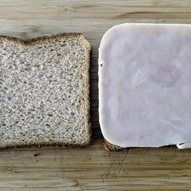 """Turkey Slice Sandwich Preperation"" stock image"