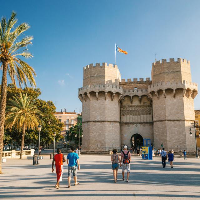 """Valencia The Serrans Gate or Serranos Gate, in Spain"" stock image"
